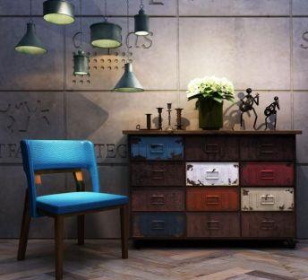 工业风装饰柜单椅组合