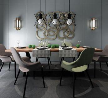 现代餐桌椅墙饰品组合