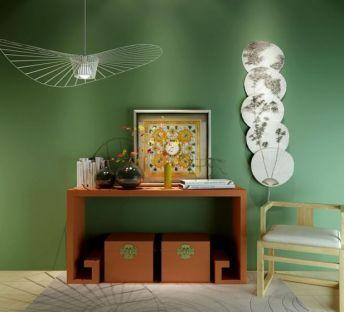 中式边柜单椅扇子墙饰组合
