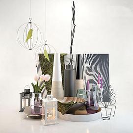 屋内装饰品地灯组合3d模型