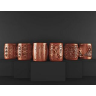 中式镂花圆鼓凳组合3d模型