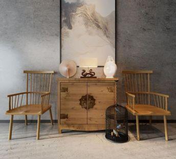 复古中式柜子椅子组合