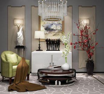 现代边柜座椅水晶吊灯组合
