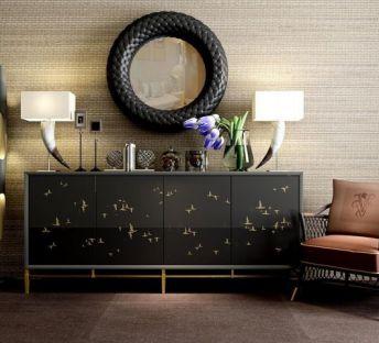 黑色奢华柜子椅子组合