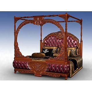 美式豪华四柱床床3d模型