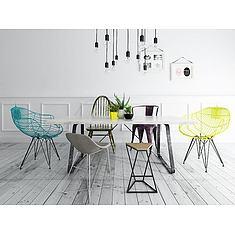 北欧风餐桌椅灯泡吊灯组合3D模型3d模型