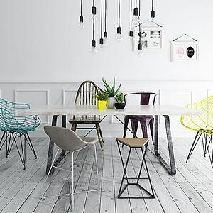 北歐風餐桌椅燈泡吊燈組合模型3d模型