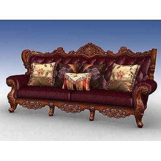 美式四人沙发3d模型