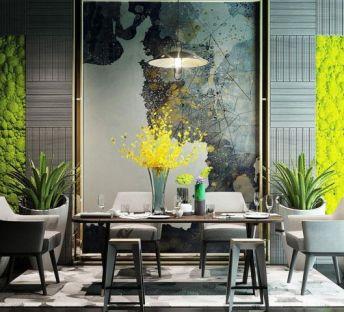 现代餐桌椅植物墙组合