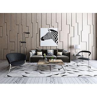 现代沙发镂空茶几组合3d模型