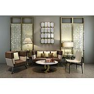 现代沙发茶几屏风组合3D模型3d模型