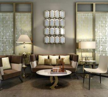 现代沙发茶几屏风组合