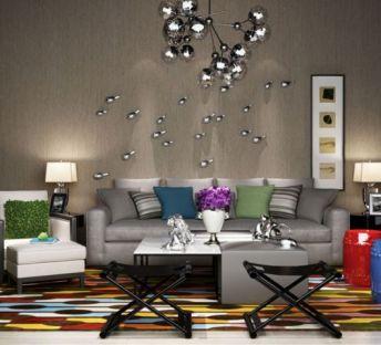 现代沙发葡萄吊灯组合