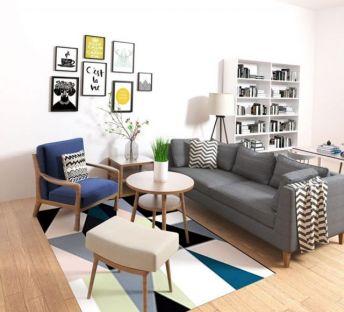 现代书架沙发茶几组合