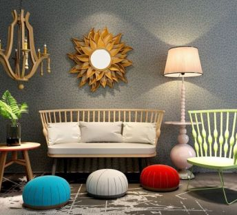 现代原木沙发椅挂饰品组合
