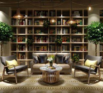 现代书架创意沙发茶几组合