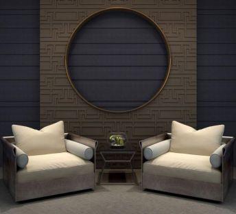 新中式单人沙发隔断组合