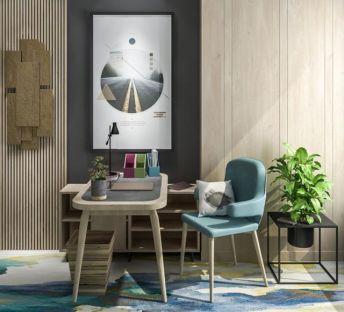 北欧书桌椅墙饰品组合
