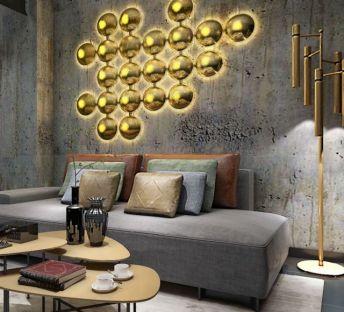 现代沙发茶几个性墙饰品组合