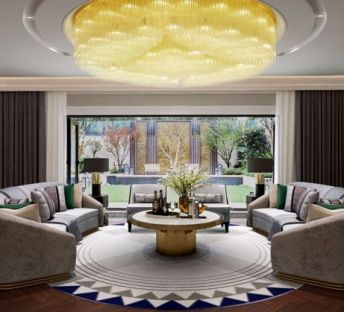 现代环形沙发吊灯组合