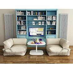 北欧休闲沙发书柜组合3D模型3d模型