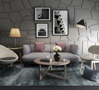现代灰色系组合沙发