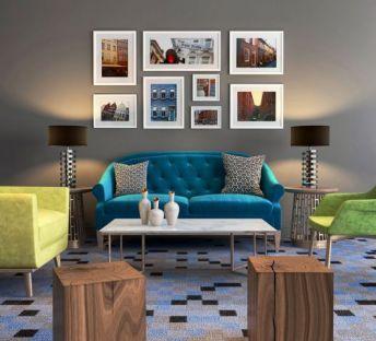 北欧沙发椅木凳组合