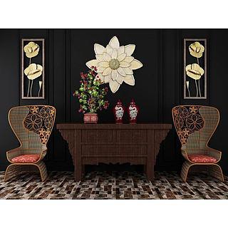 中式创意镂空椅子边柜组合3d模型