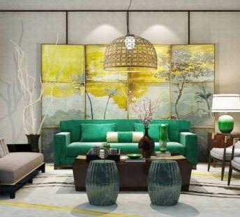 中式沙发椅油画背景屏风组合