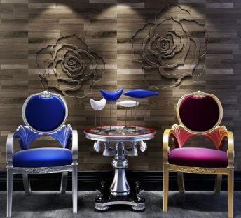 欧式椅子圆几背景墙组合