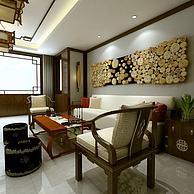 中式沙发茶几墙饰品组合3D模型3d模型