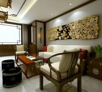 中式沙发茶几墙饰品组合