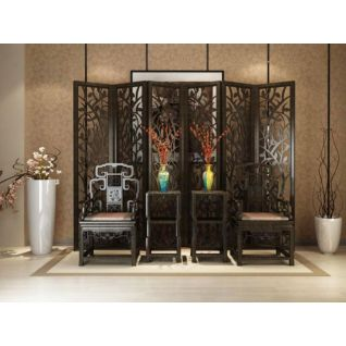 传统中式椅子花格隔断组合3d模型