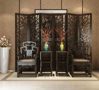 传统中式椅子花格隔断组合