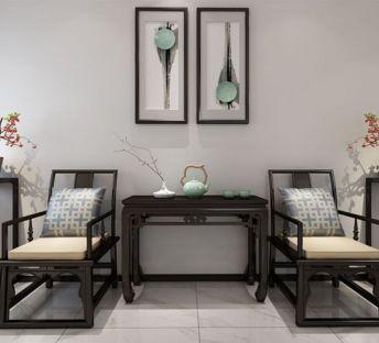 中式椅子案台挂画组合