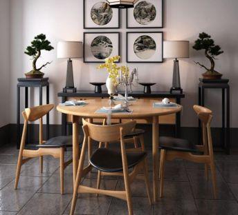 中式桌椅盆栽组合