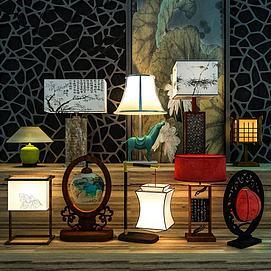 中式台灯装饰灯模型