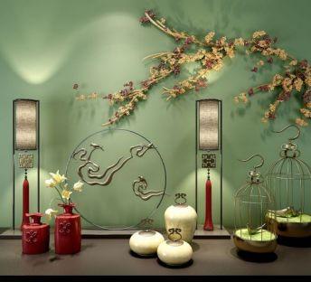 中式花艺摆件墙饰品