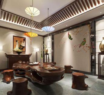 中式木头造型茶桌茶椅