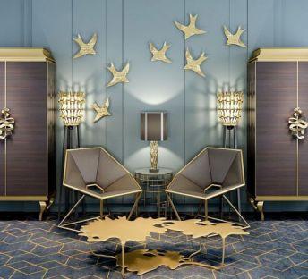 金色极致奢华柜子单椅组合