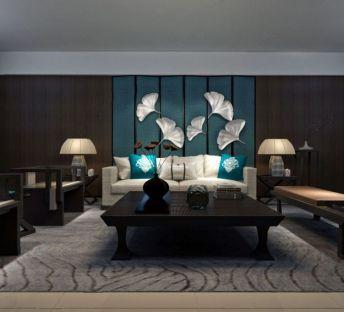 中式沙发茶几银杏叶墙饰组合