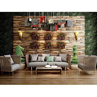 经典东南亚休闲沙发组合3d模型