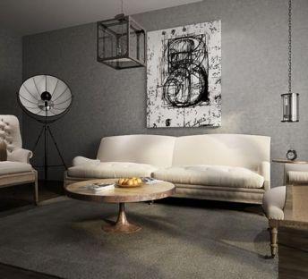 美式创意吊灯沙发茶几组合