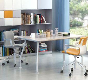 现代办公桌椅书柜组合