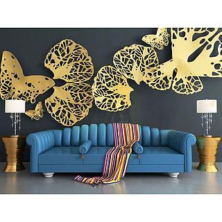 蓝色沙发镂空蝴蝶墙饰品组合3d模型