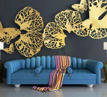 蓝色沙发镂空蝴蝶墙饰品组合