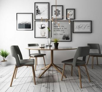 北欧餐厅桌椅吊灯组合