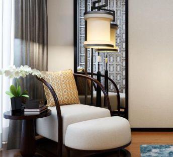 新中式休闲沙发落地灯组合