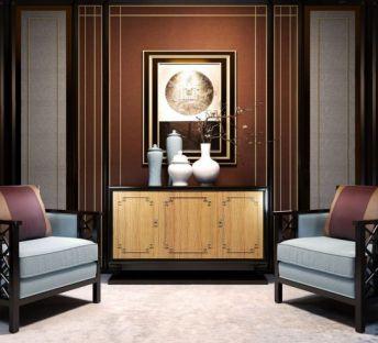 新中式休闲沙发端景台组合
