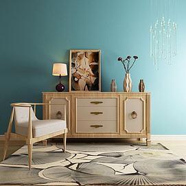 新中式实木装饰柜座椅组合3d模型